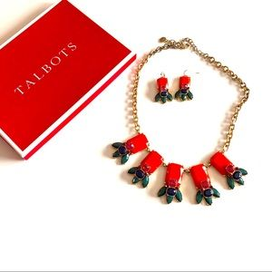 Talbots statement necklace earrings set